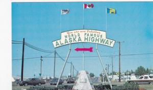 World Famous Alaska Highway, Mile O Arch, Dawson Creek, British Columbia,...