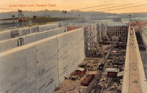 Lower Gatun Lock, Panama Canal, Canal Zone, Early Postcard, Unused