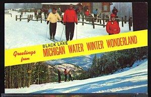 USA Postcard Greetins From Black Lake Michigan Skiing Winter Sports