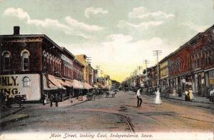 Independence Iowa~Main Street East~Ladies Shopping~Furniture Store~1905 Postcard