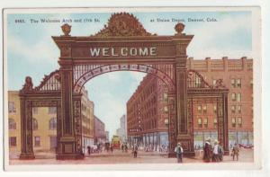 P1108  old card unused welcome arch union depot denver colorado