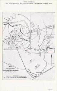Map Showing Line Of Movement Of Confederate and Union Armies 1861 Curteich