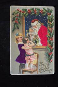 Christmas Santa Claus Silk Suit, Silk Dress Girls Doll Embossed Postcard