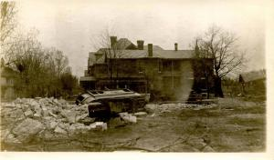 OH - Dayton. March 1913 Flood Aftermath, Street Car carried 50 feet away from...