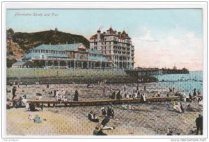 Llandudno Sands and Pier Wales 1907 postcard
