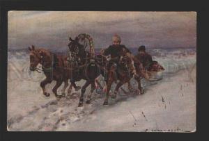 3078774 HORSES TROIKA w/ Winter Sled by VOROSHILOV RUSSIAN PC