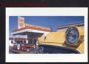 ROUTE 66 WB GAS STATION 1950's CARS POSTCARD