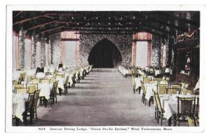 West Yellowstone MT Union Pacific Interior Dining Lodge Vintage Tammen Postcard