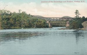 Junction of Sacandaga and Hudson Rivers - Hadley NY, New York - pm 1910 - DB