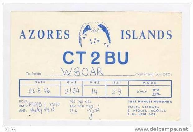 Radio Card CT2BU, S. MiguelAzores, 40-50s