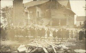 Bath MI School Tragedy Mass Murderer Maniac 44 Killed MaCabre 1927 RPPC xst