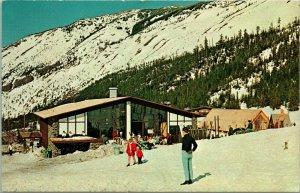 Vtg Postcard Crystal Mountain Washington Ski Resort Sun Ski Snooze Swim Lodge