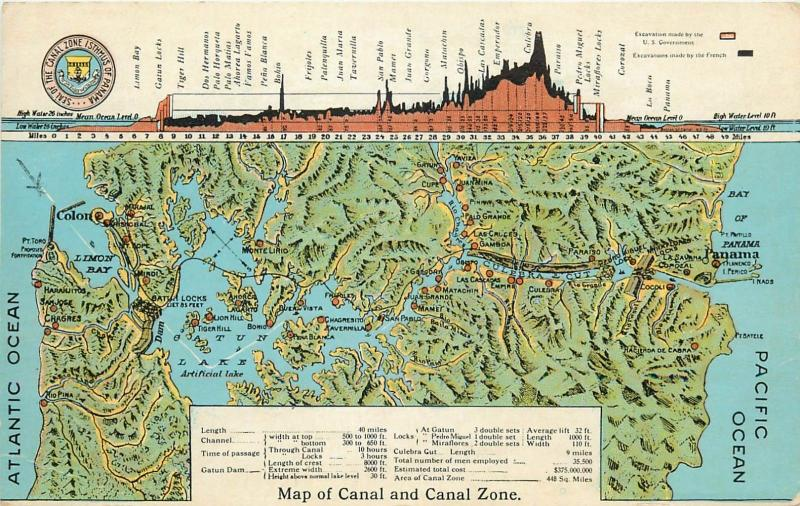 Map of Canal and Canal zone isthmus of PANAMA old postcard ...