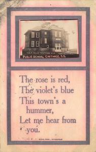 Carthage SD This Town's a Hummer~Public School~RPPC 1912 Weickert, Stockton IL