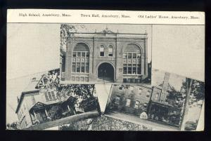 Amesbury, Massachusetts/MA/Mass Postcard, High School/Town Hall/Ladies' Home
