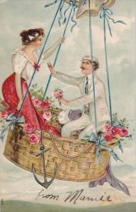 Romance couple in a balloon , 1908