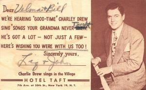 New York City~Hotel Taft~Good-Time Charlie Drew Sings~TV in Many Rooms~1949