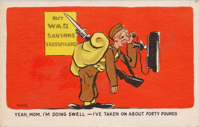 Military Comic Calling Home 'Yeah Mom I'm Doing Swell' Bennet Art Postcard G79