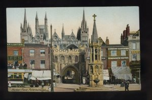 TQ3292 - Northants - An early view of the Market Place, Peterborough - postcard