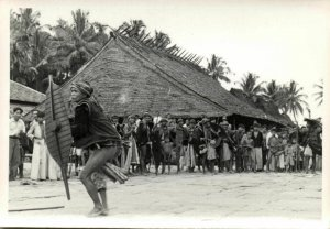 indonesia, NIAS, Native Warrior with Shield (1930s) Real Photo (04)