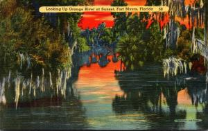 Florida Fort Myers Looking Up Orange River At Sunset