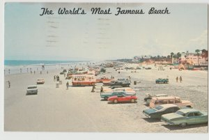 DAYTONA BEACH FL WORLDS MOST FAMOUS BEACH 1972 CHEVY CORVETTE CARS Postcard