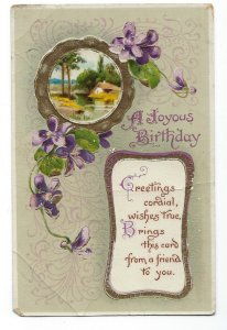 C.1907-15 A Birthday Joyous Birthday African Violets Rustic House, Embossed