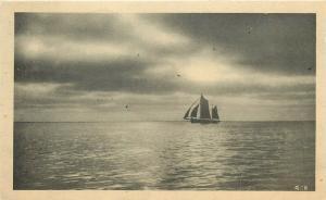 Boat or Sailing Ship Sailboat at Sea Gartner and Bender pm 1914 Postcard