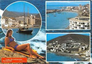 Spain Los Cristianos Tenerife Bateaux Port Panorama General view