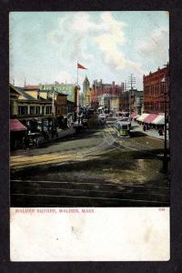 MA View Trolley Cars  MALDEN Sq MASS Postcard Massachusetts UDB PC