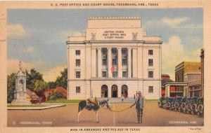 TEXARKANA TEXAS MAN IN ARKANSAS AND HIS ASS IN TEXAS~COURT HOUSE POSTCARD 1939
