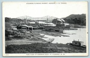 Postcard WV Point Pleasant River Steamers Coal Fleet at Kanawha Dock c1920s S20
