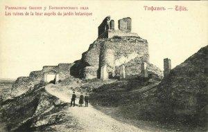 georgia russia, TBILISI TIFLIS, Botanical Garden, Tower Ruins (1910s) Postcard