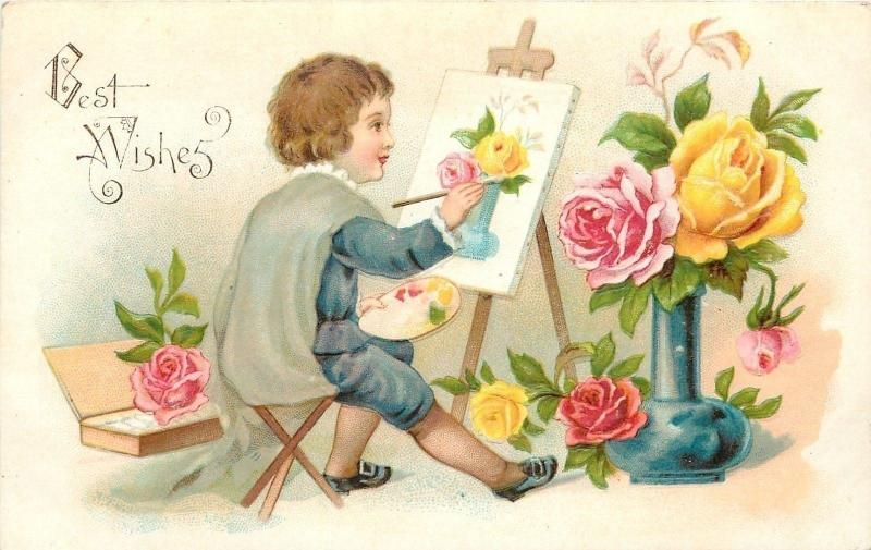 boy paints still life roses artist palette easel canvas embossed