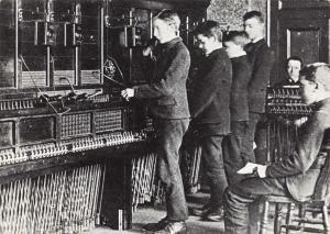 Vintage Repro Postcard Boy Operators working the Sunderland exchange 1883 G38