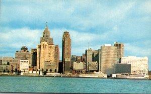 Michigan Detroit Skyline Seen From Windsor Canada