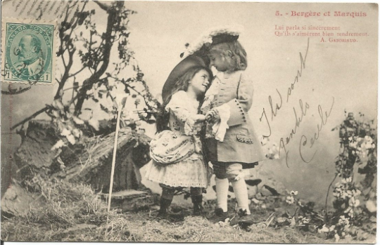 French Children Dressed up in Period Clothes Courting Romance Bergere et Marquis