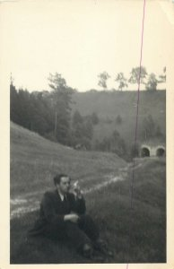Postcard Countryside natural landscape man smoking snapshot