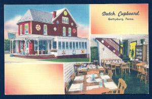 Dutch Cupboard Tea House Gettysburg PA unused c1940's