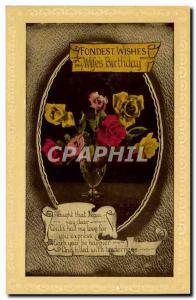 Old Postcard Fancy Fondest wishes Birthday Anniversary