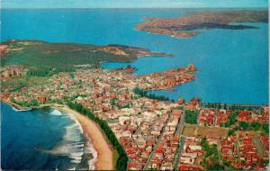 Manly Australia AU Aerial View Steyne Beach Sydney Harbour c1971 Postcard D77