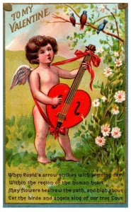 Valentine , Cupid playing guitar