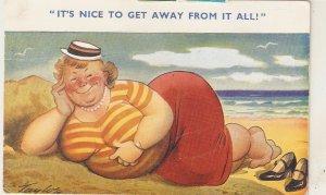 Fat lady resting in beach. It's nice to.... Bamforth Seaside Comic PC # 2018