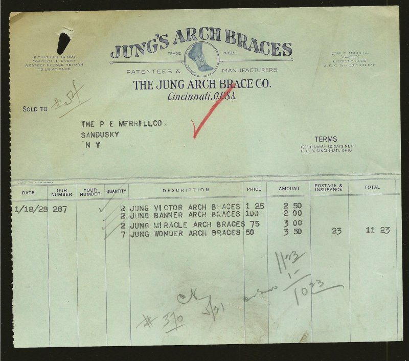 Jungs Arch Braces Co Cincinnati O 1928 Invoice Used PLEASE READ NOTE