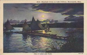 Moonlight scene on Lake Calhoun, Minneapolis, Minnesota,PU-1948