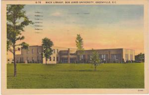 Mack Library Bob Jones University Greenville SC South Carolina - pm 1955 - Linen