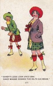 Sandy Wearing Kilts Scottish Antique Comic Humour Postcard