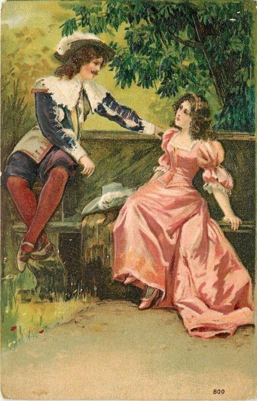 Edwardian Romance~Lovely Lady in Pink~Swashbuckling Musketeer~Woods~Emboss~1907