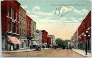 Owego, New York Postcard Front Street Downtown Scene Valentine 1910s *Creased