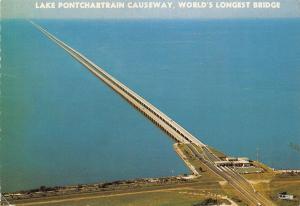 USA Lake Pontchartrain Causeway, World's Longest Bridge Air view